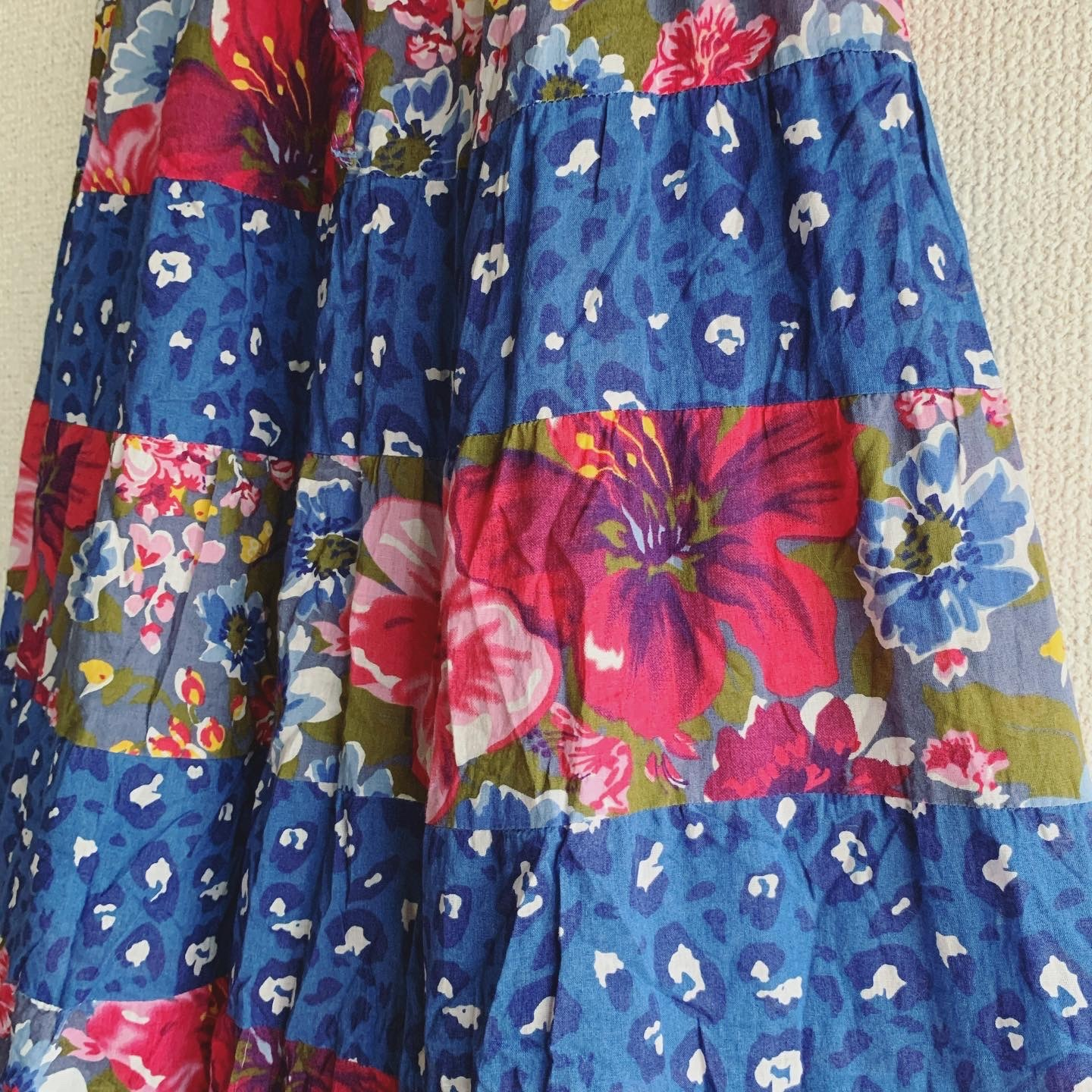 vintage flower x leopard Indian cotton skirt