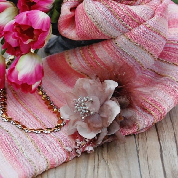 職人さん手染めのお花 ベージュブラウンコサージュ 卒業式・入学式を華やかに。
