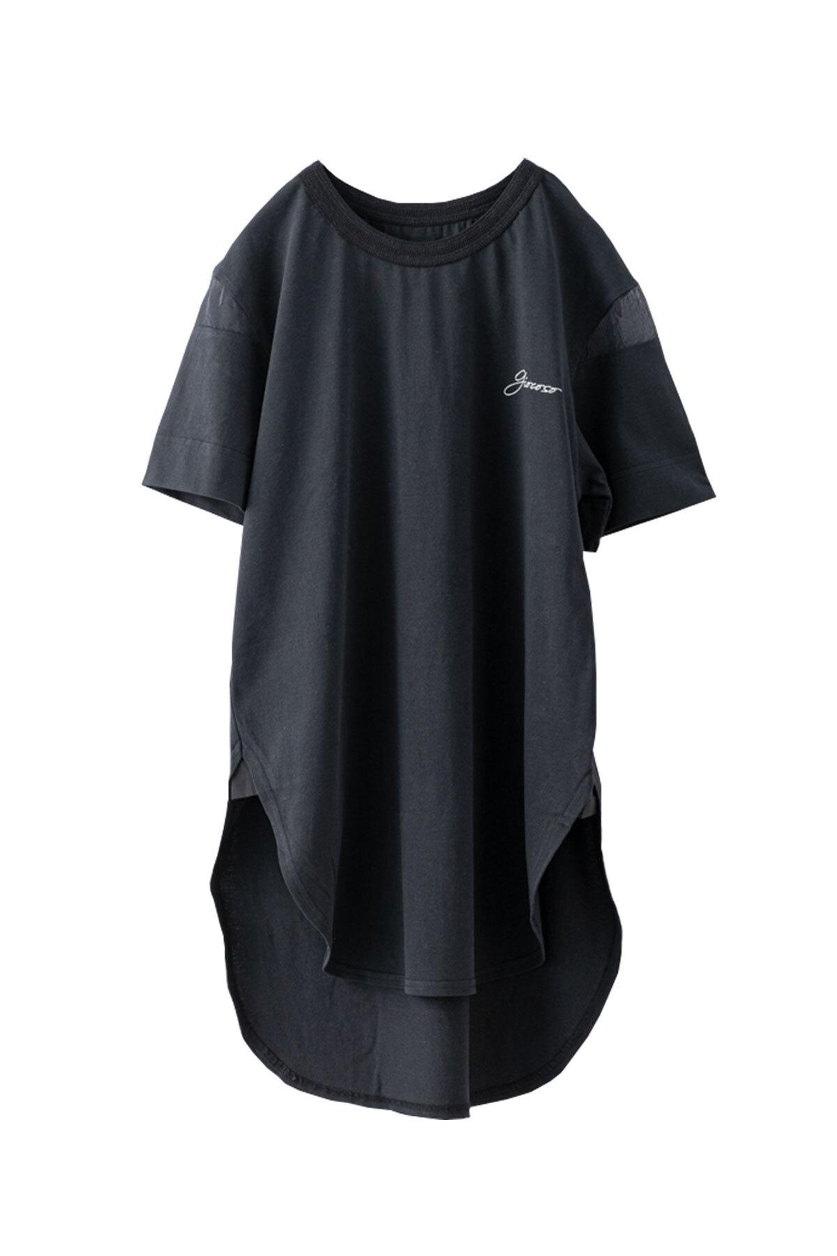 シアースリーブ Tシャツ <ブラック>