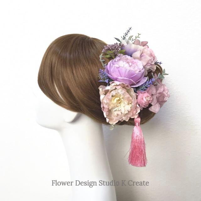 ウェディング・成人式に♡ラベンダーピンクの布花とラナンキュラスのヘッドドレス(15本セット) アネモネ 布花 結婚式 成人式