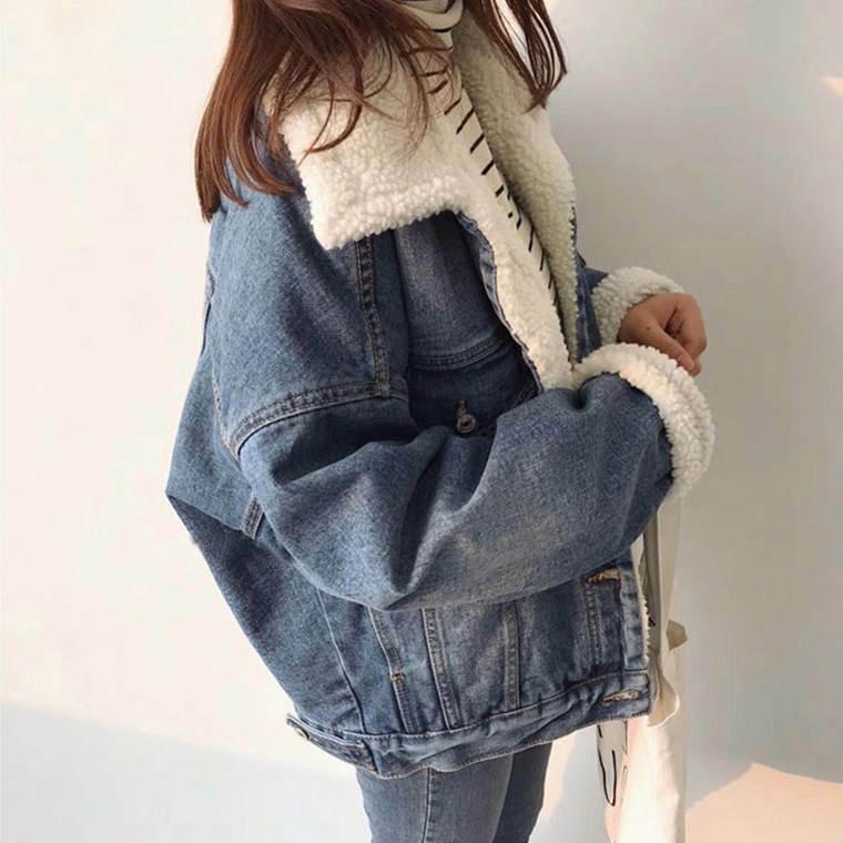 【送料無料】ボア Gジャン ♡ カジュアル 大人可愛い オーバーサイズ  襟付き デニム ジャケット アウター