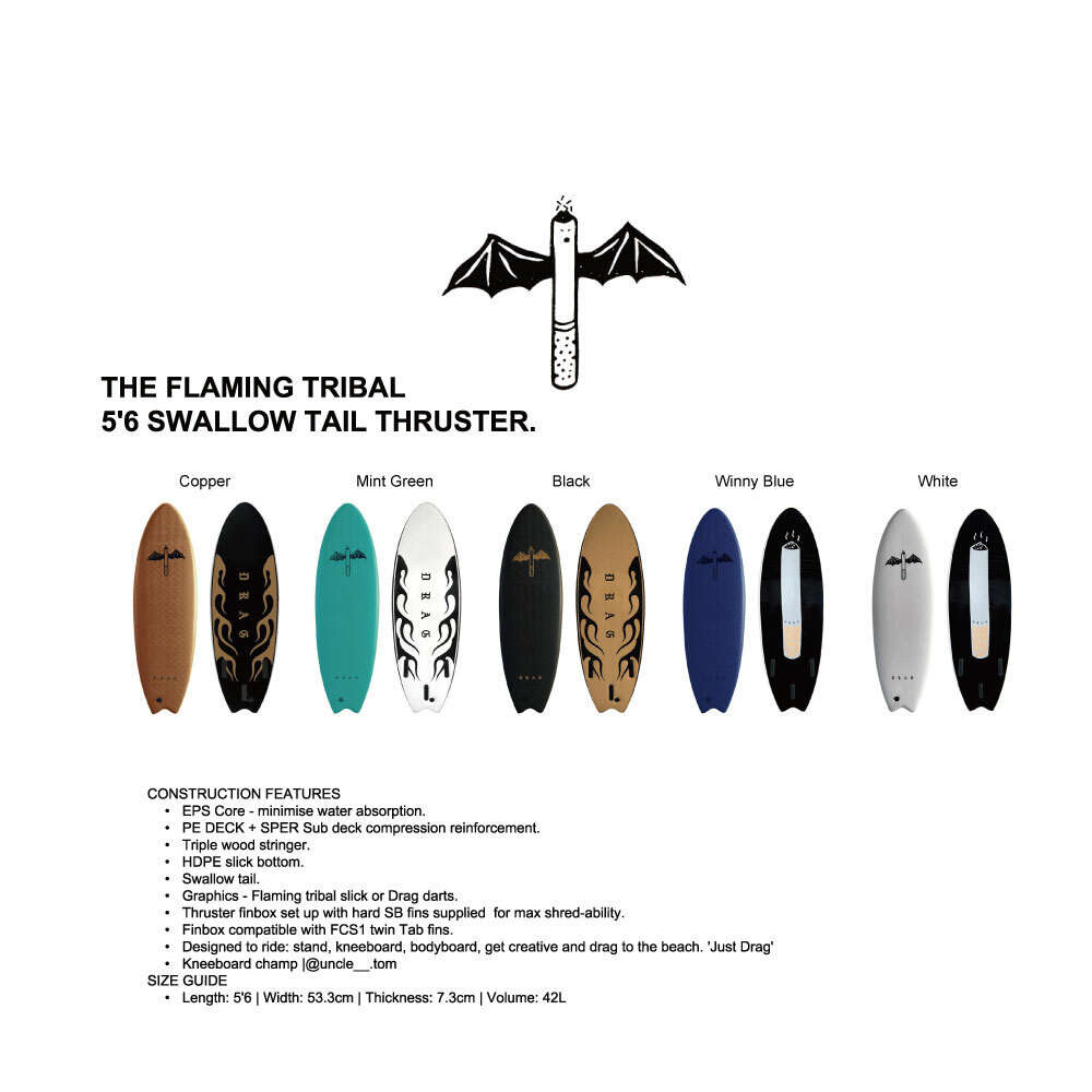 """THE FLAMING TRIBAL"" 5'6 SWALLOW TAIL THRUSTER"