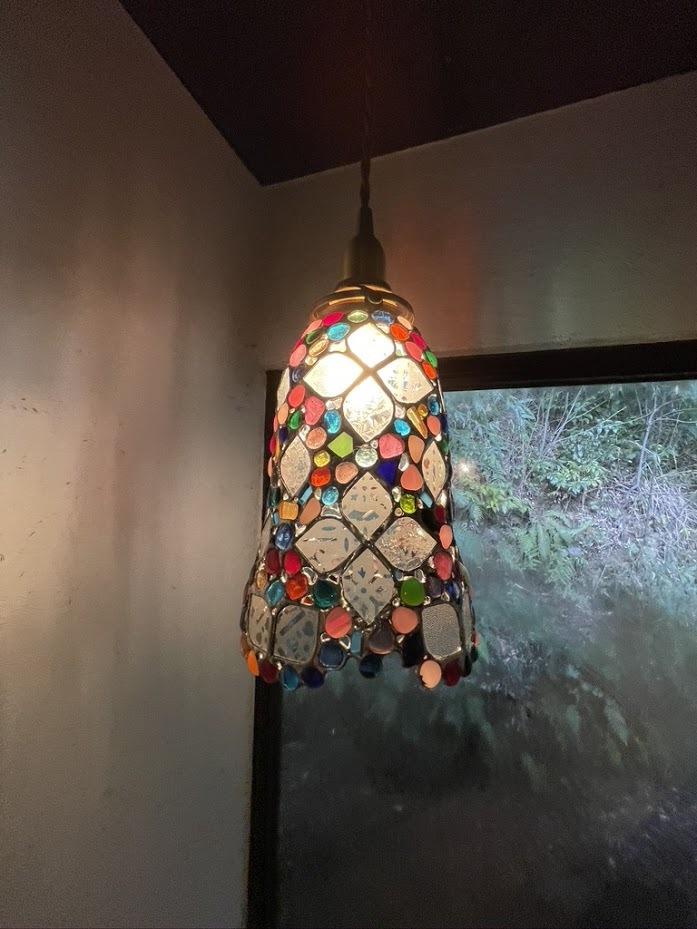 星をちりばめた吊ランプ(ステンドグラスの吊りランプ)(ペンダントライト)01010034
