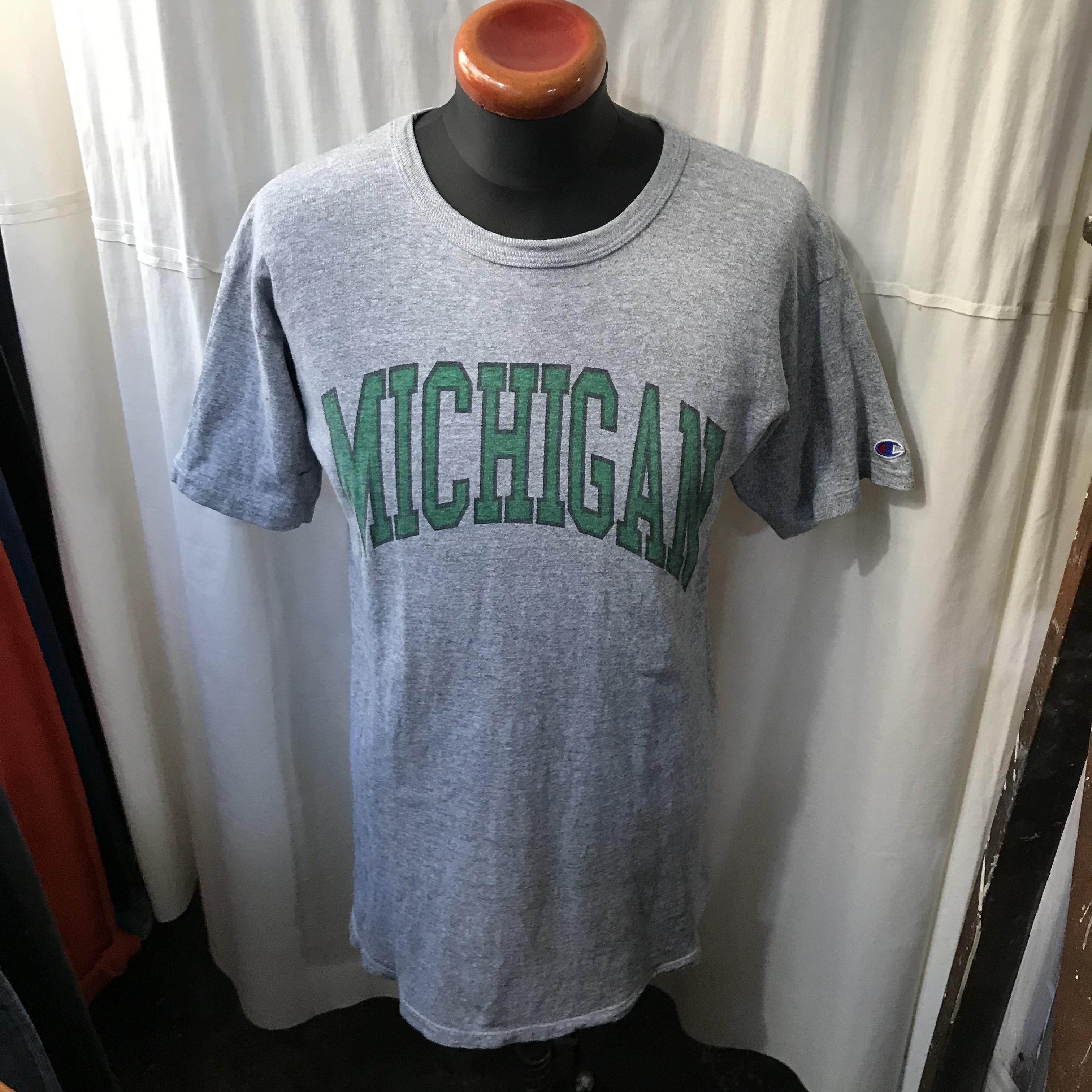 80's old champion チャンピオン 8812 染み込みプリント半袖Tシャツ メンズL