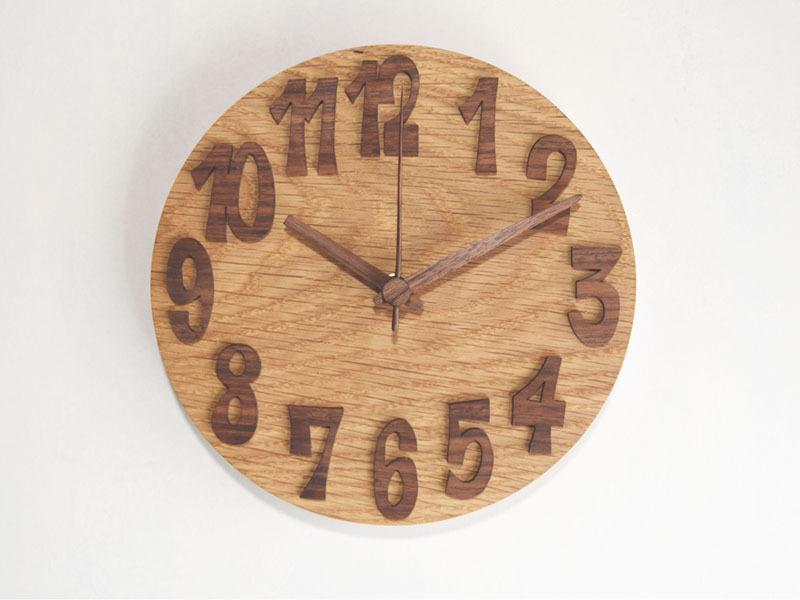 木の掛け時計/ウォールナット+オーク/18cm/受注生産品/WC-OW18BL