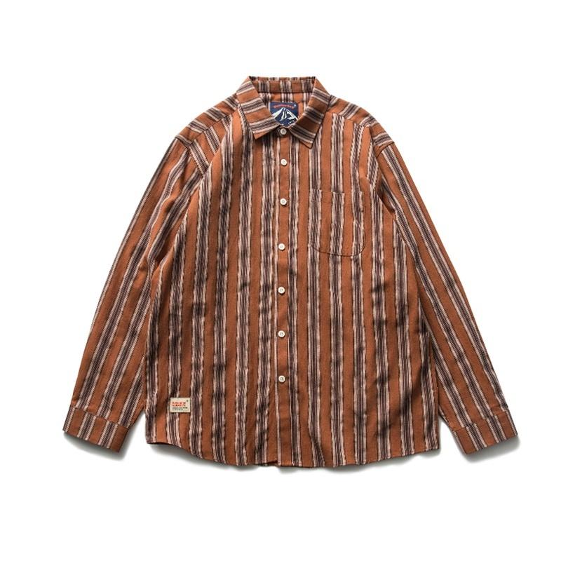 【UNISEX】アウトドア ストライプ フランネルシャツ【2colors】