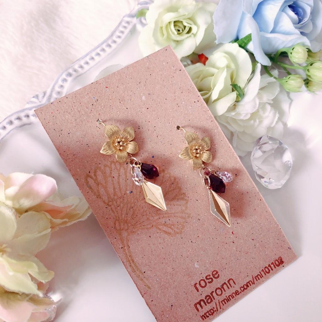 【Rose Maronn】p2712004  お花とスワロフスキーのピアス