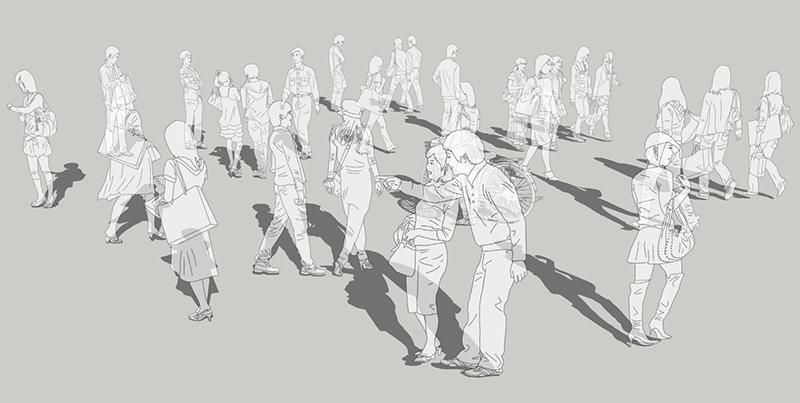 人物線画SketchUp素材 4up_line01_20_1 - 画像1