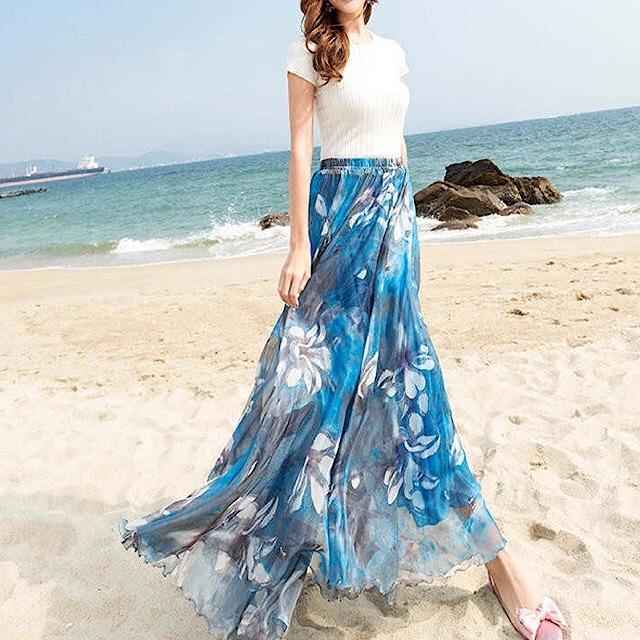 春夏のおすすめ☆ スカート ロングスカート シフォン ボヘミアン 花柄 エレガント