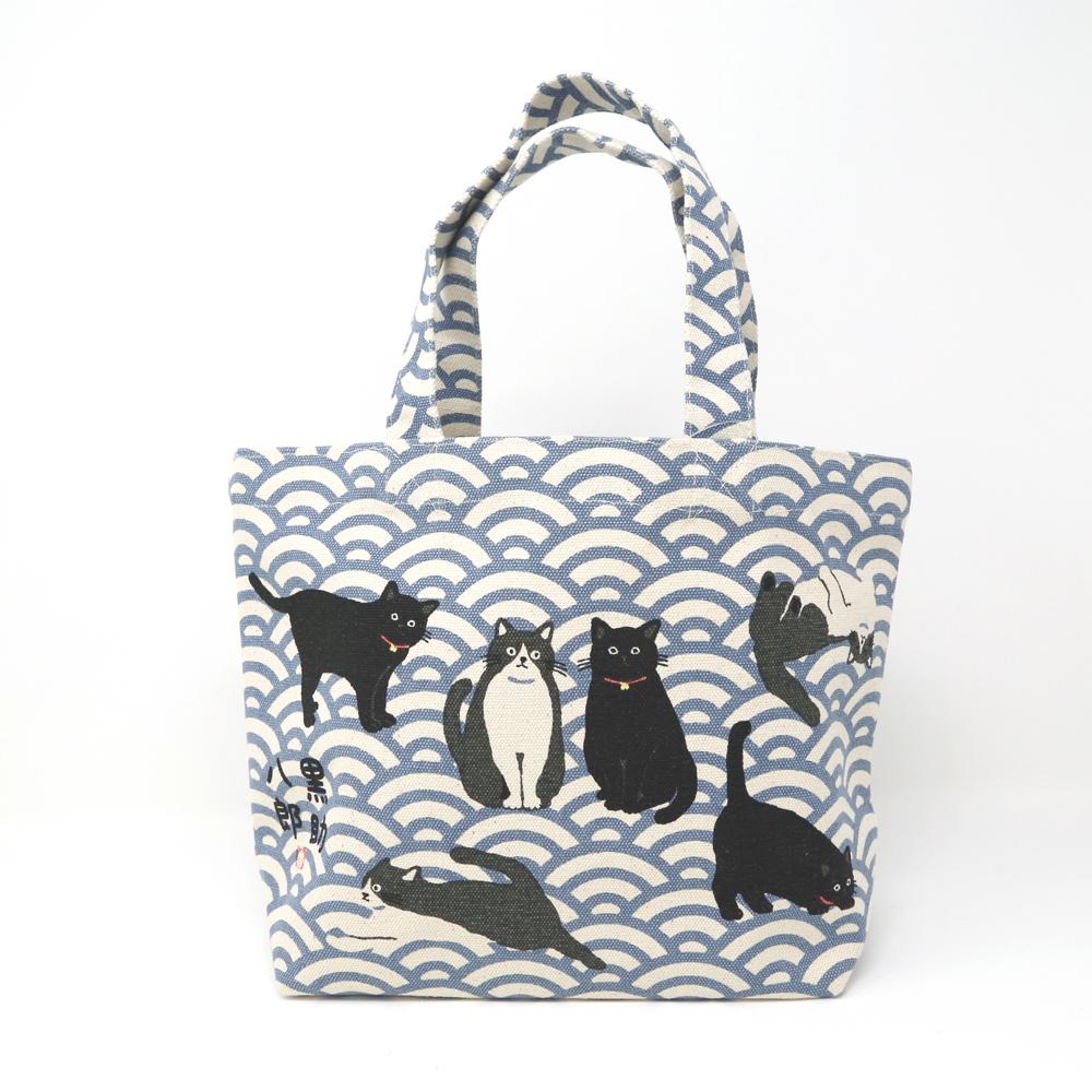 猫ミニトートバッグ(黒助と八郎)