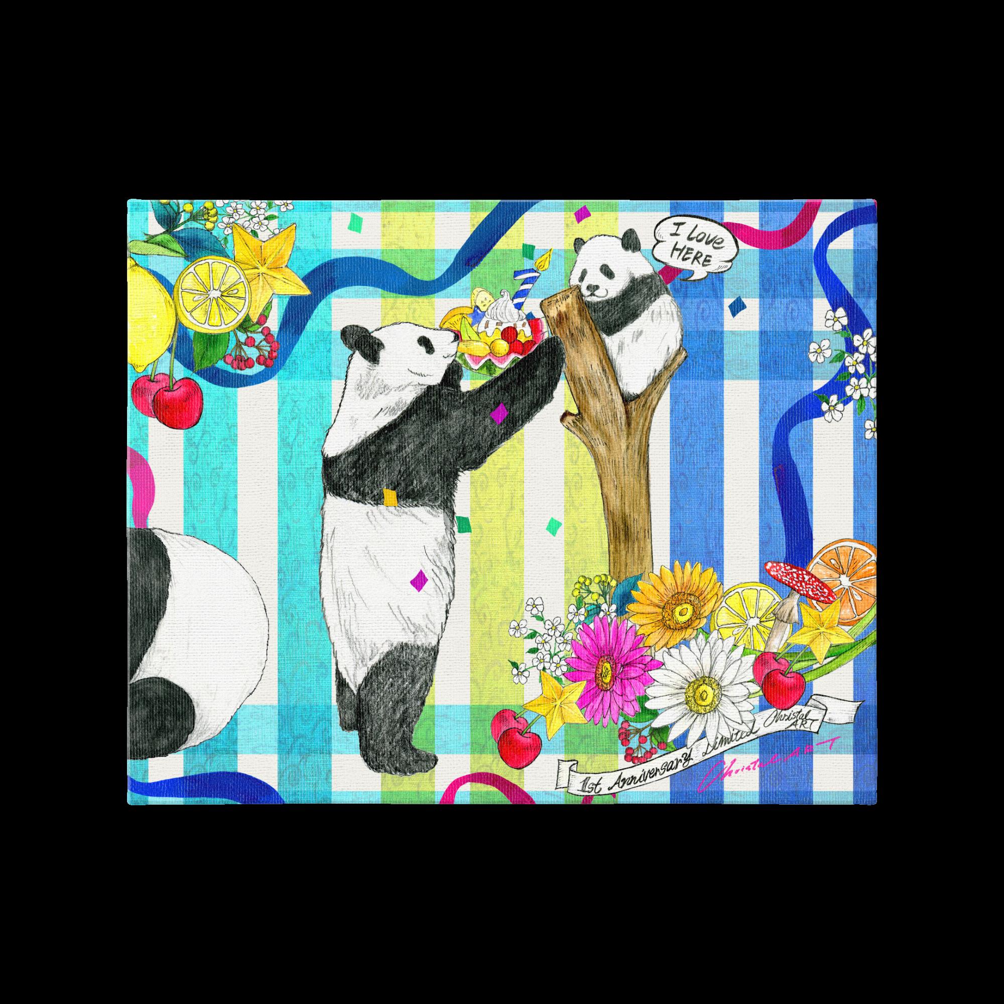 受注生産◆プリントキャンバス◆1歳バースデー記念柄 シャンシャンデザイン◆