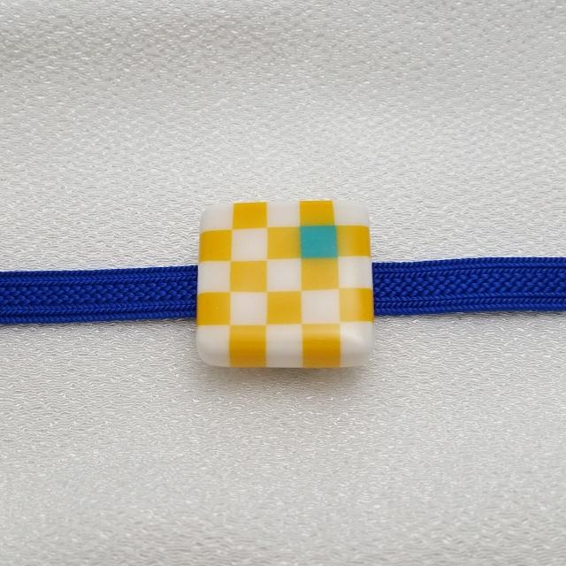 マメコロンカラー市松帯留め[中]サイズ【黄色】