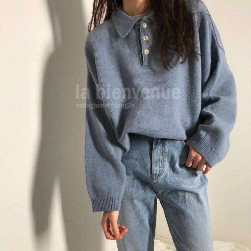 ポロデザインニットセーター