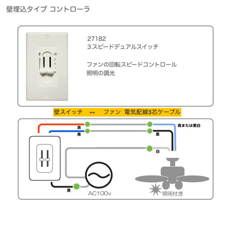ドネガン 照明キット付【壁コントローラ・24㌅61cmダウンロッド付】 - 画像3