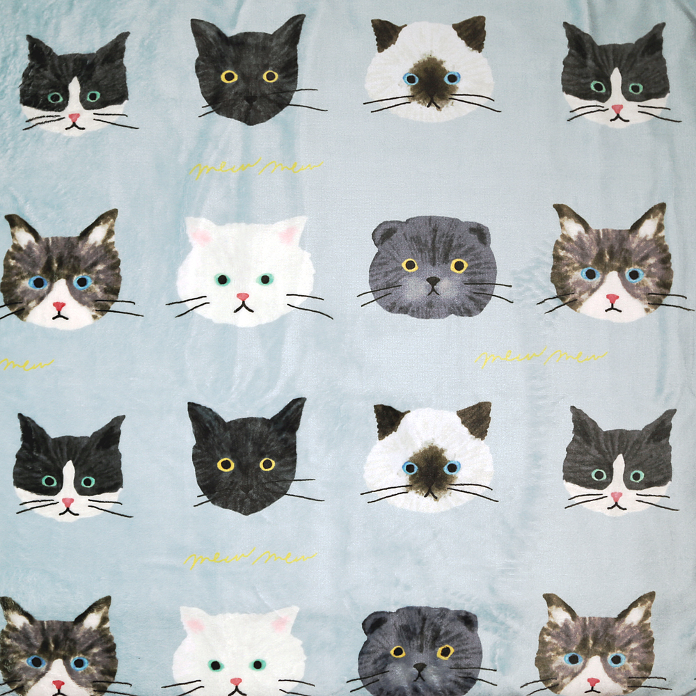 猫ブランケット(ミュウミュウひざ掛け)ミントグリーン