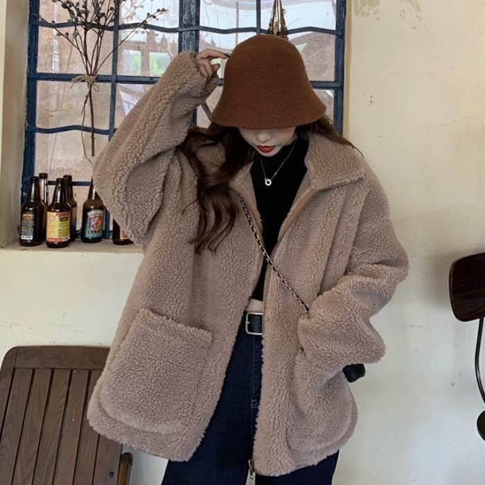 <2月以降発送>【送料無料】 この冬おすすめ♡ ハイネック ボア ジャケット ブルゾン コート アウター もこもこ オーバーサイズ