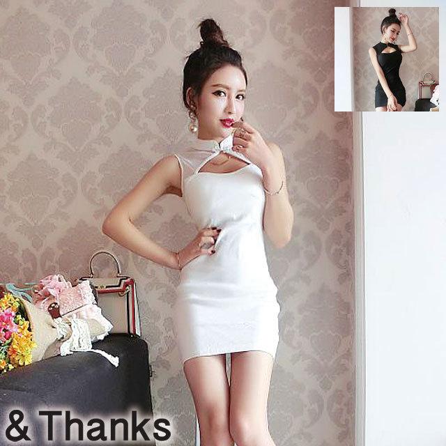 ドレス特集 ノースリーブ胸開きドレス 2カラー 3サイズ