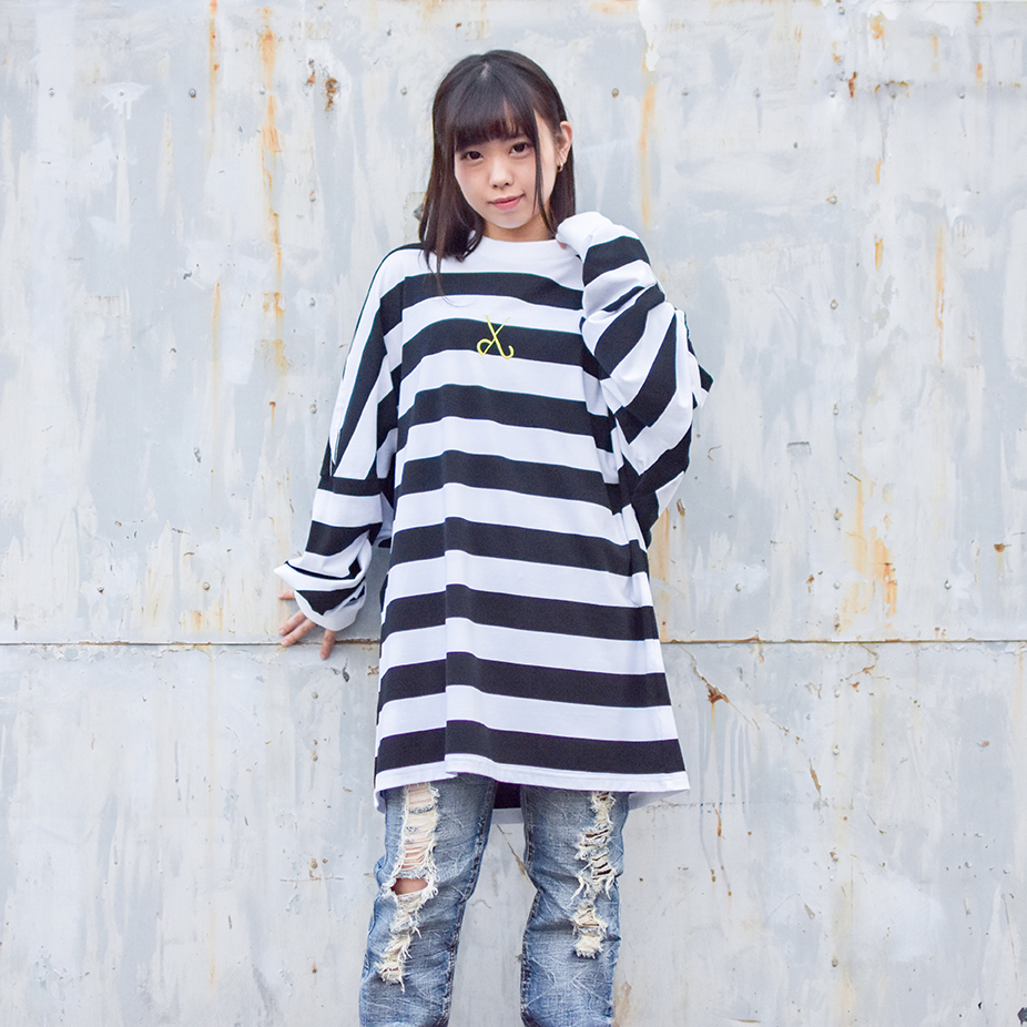 【Deviluse | デビルユース】Border Dropshoulder L/S T-shirts(Black×White)