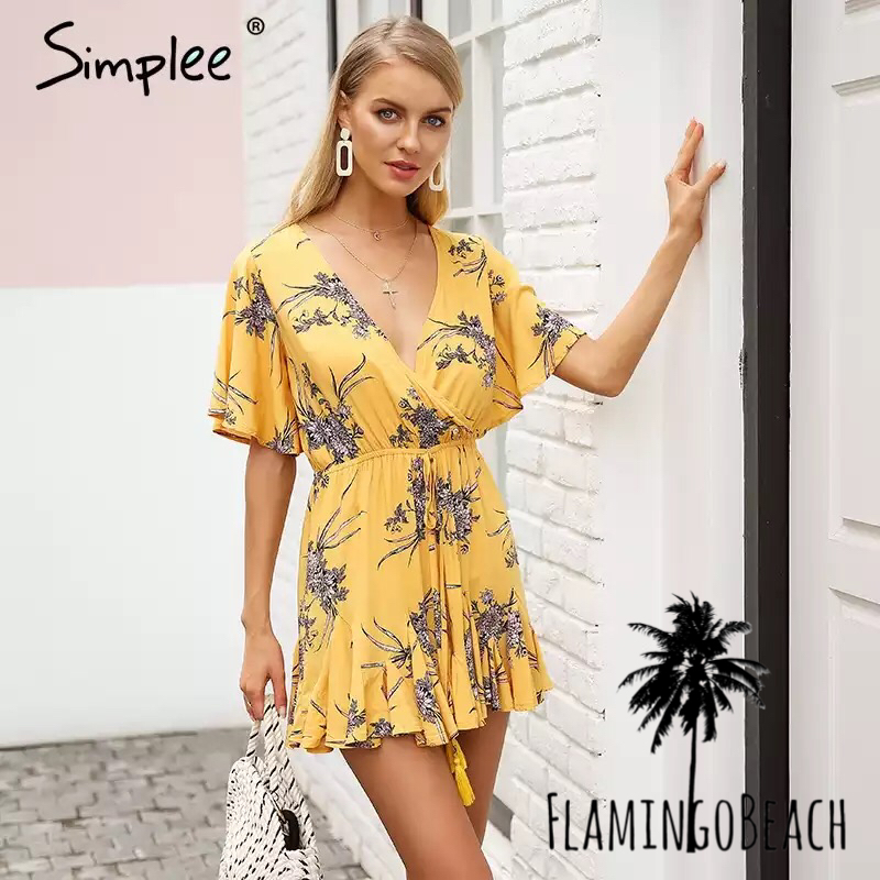 【FlamingoBeach】yellow rompers ロンパース