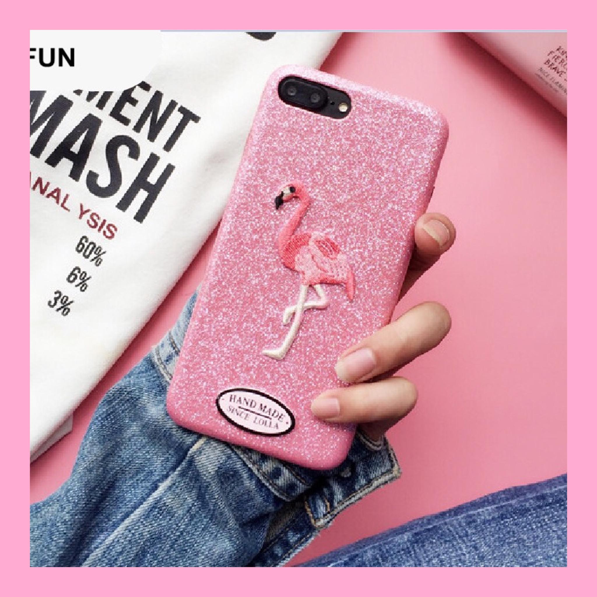 glitter flamingo iPhone case