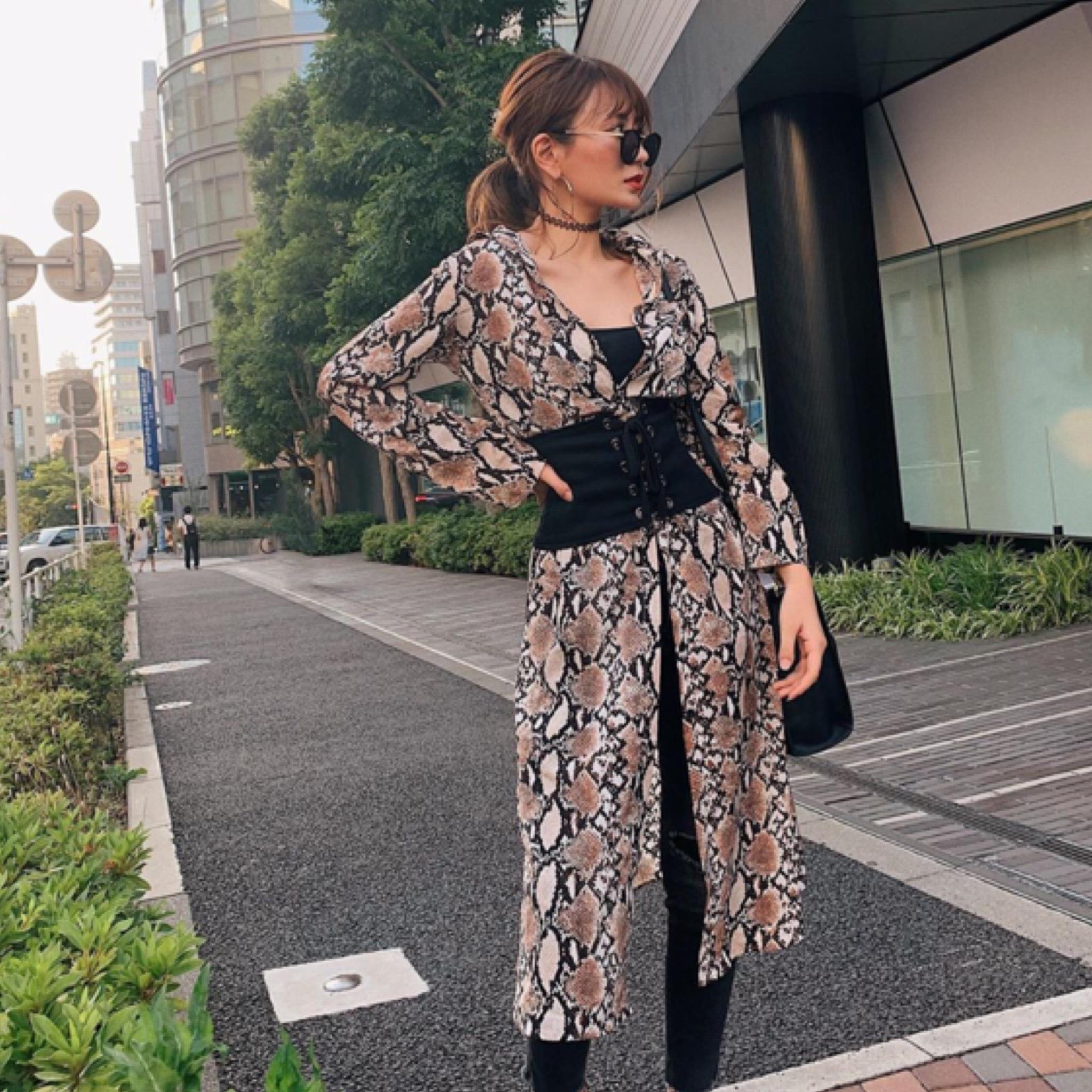 パイソンロングシャツスリットドレス/2色展開/S〜XL