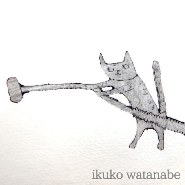 版画カード - 猫・掃除機 - わたなべいくこ - no9-wat-10