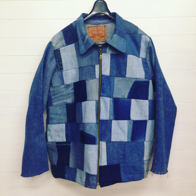 オリジナルデニムパッチワークジップジャケット