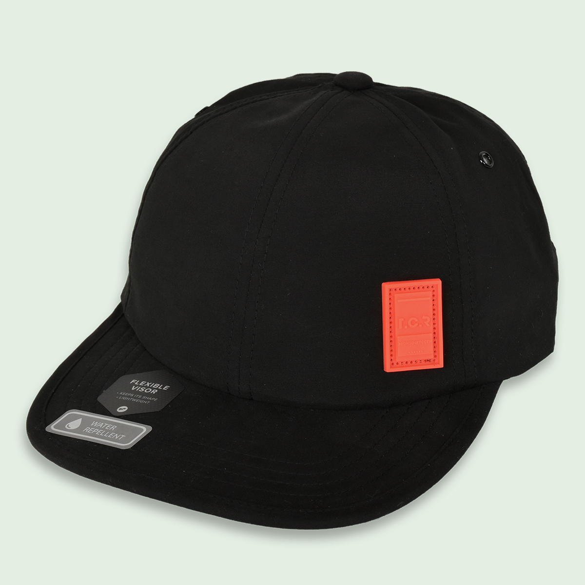 RUBBER LOGO WATER REPELLENT 6-PANEL CAP - BLACK/NEON ORANGE