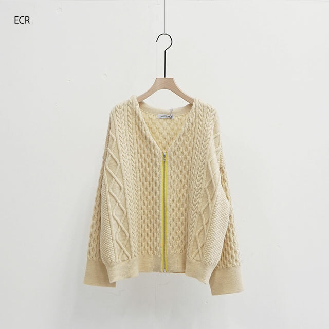 ORDINARY FITS オーディナリーフィッツ CABLE KNIT ZIP CARDIGAN (品番of-n014)