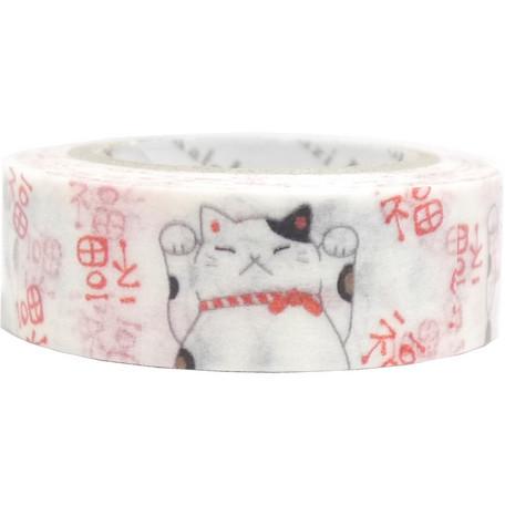 猫マスキングテープ(福まねき)幅15mm