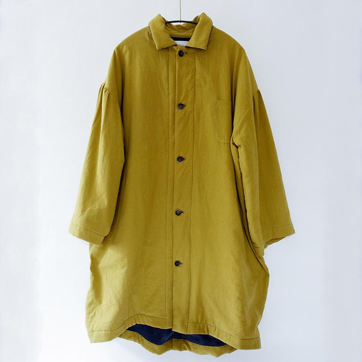 michirico ミチリコ back fleece long coat col.:Mustard size:F(Ladies)