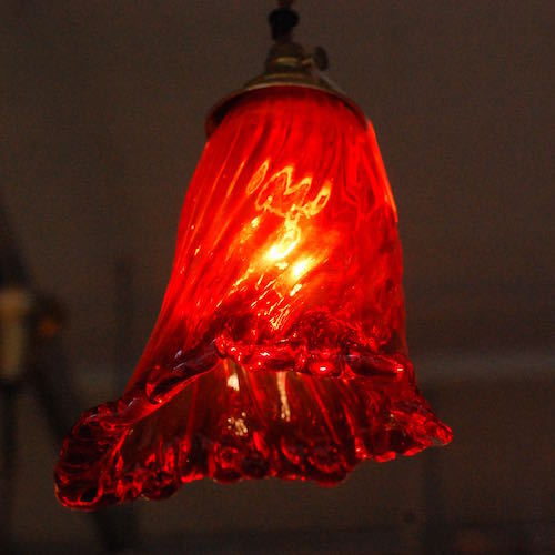 "Vintage Italian Red Lamp Shade ""Flame"""
