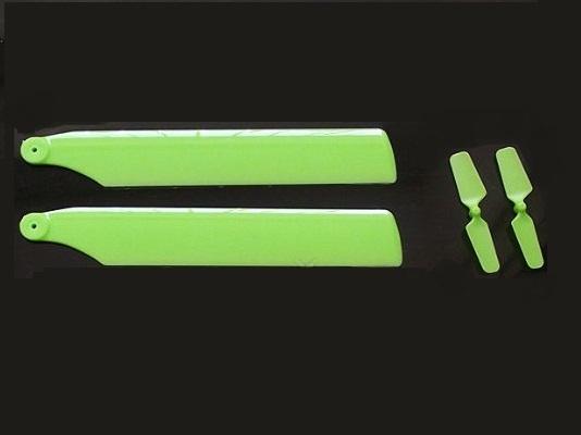 ★V977、K110、MiniCPメイン&テールブレード2枚 カラーはグリーン又はイエローから選択できます。