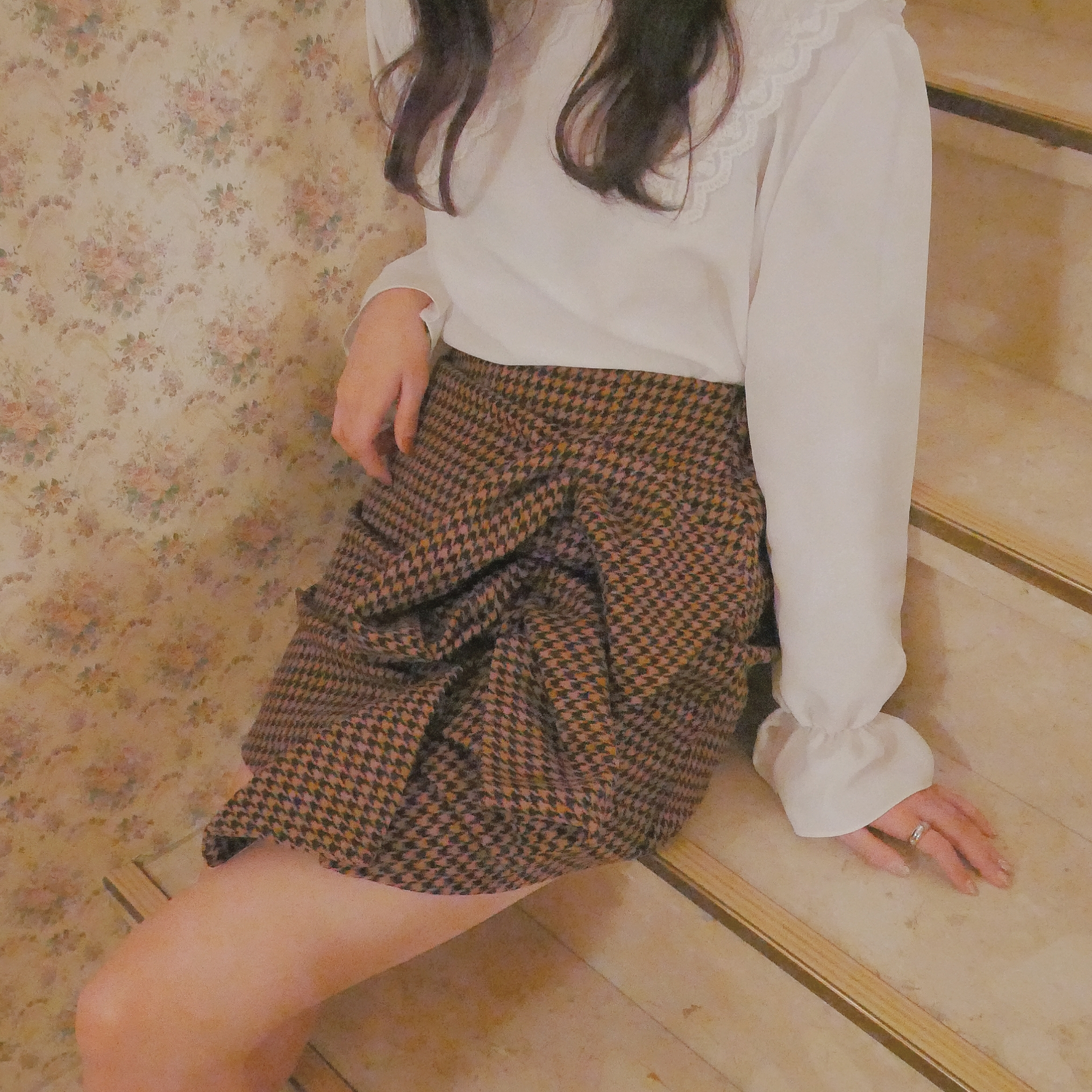 A-line side gather skirt(black/brown)