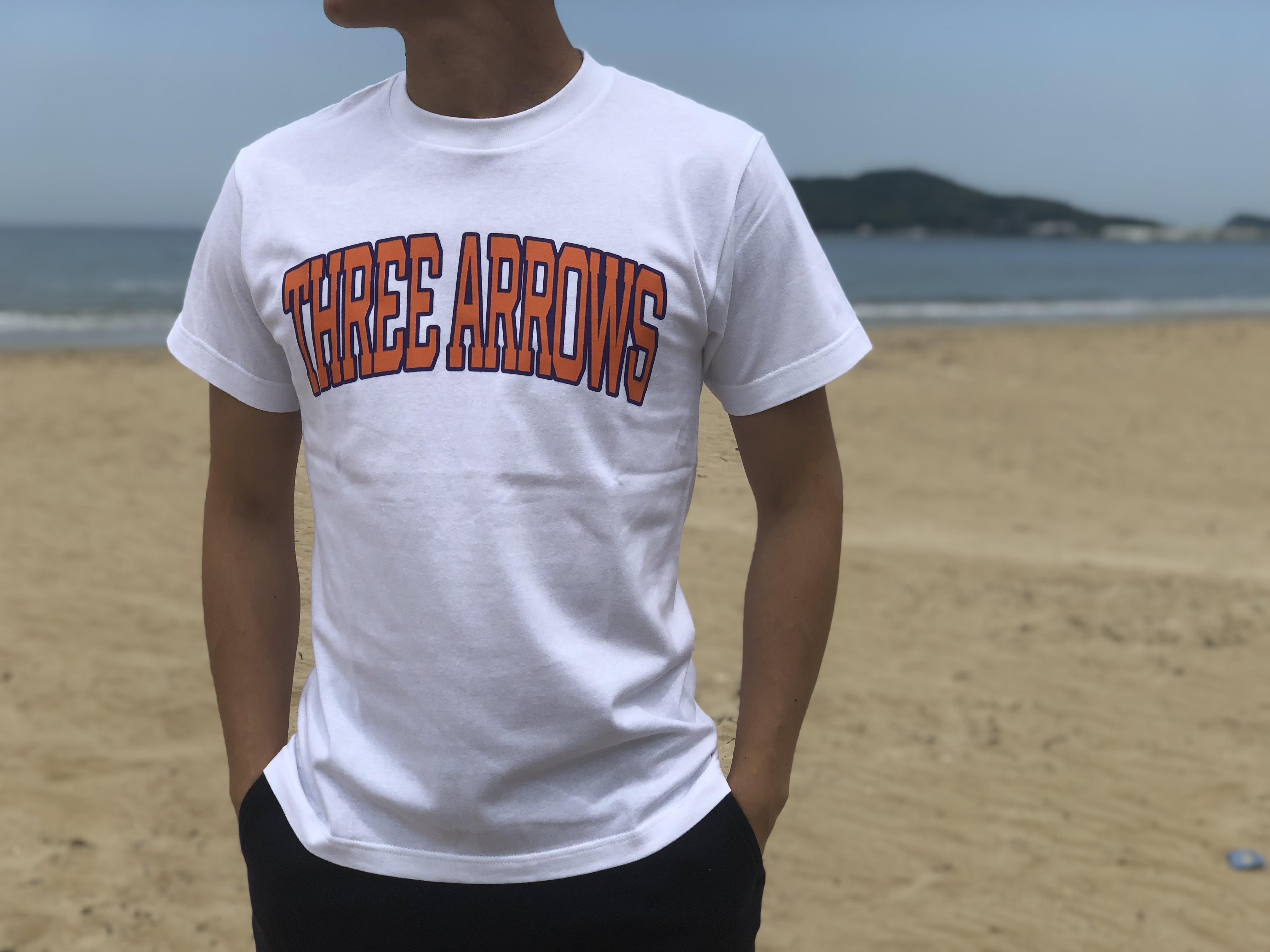 College logo Tシャツ(orange × purple)