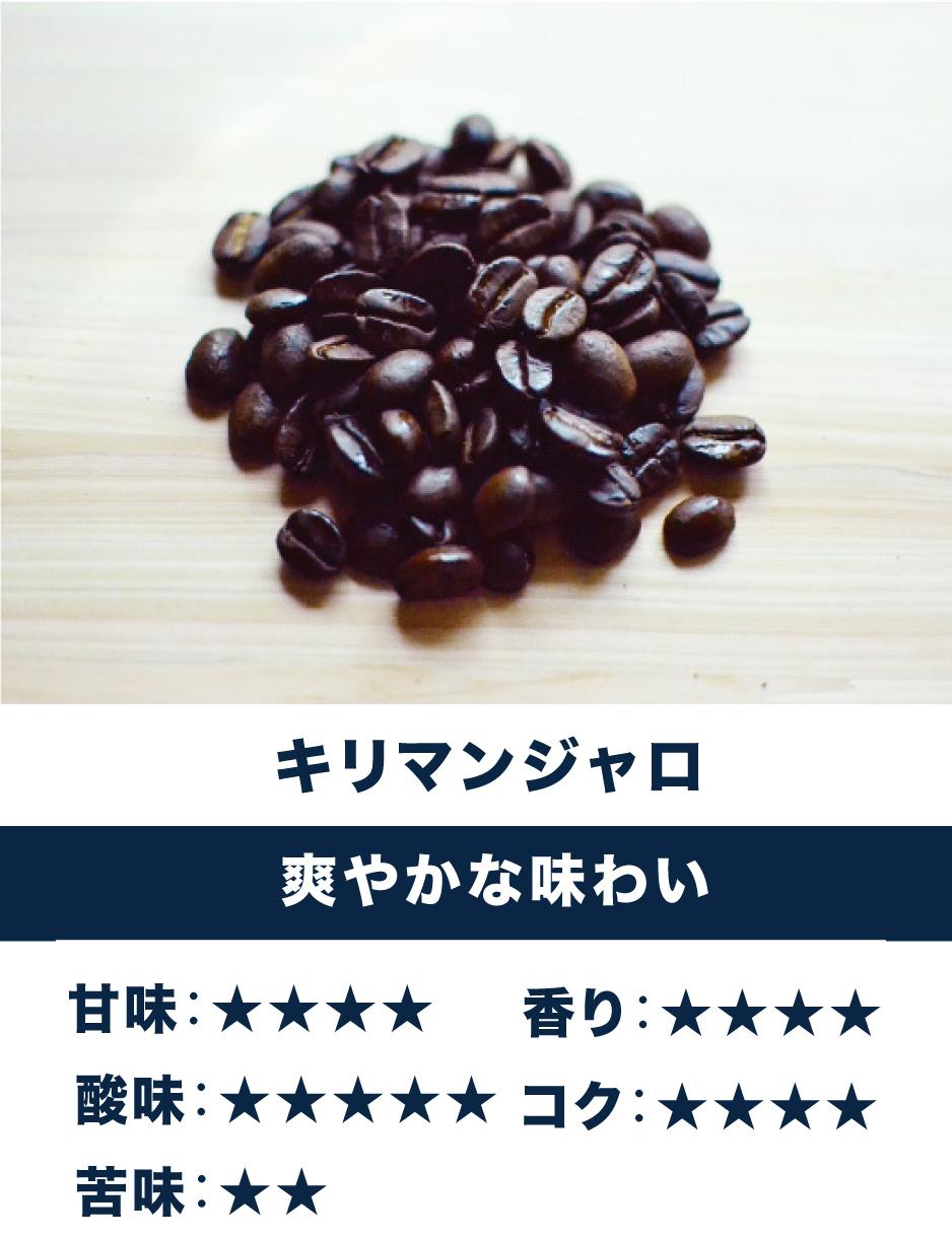キリマンジャロ ☆ 酸味・コク系☆ 爽やかな味わい、はっきりとしたキレのある酸味