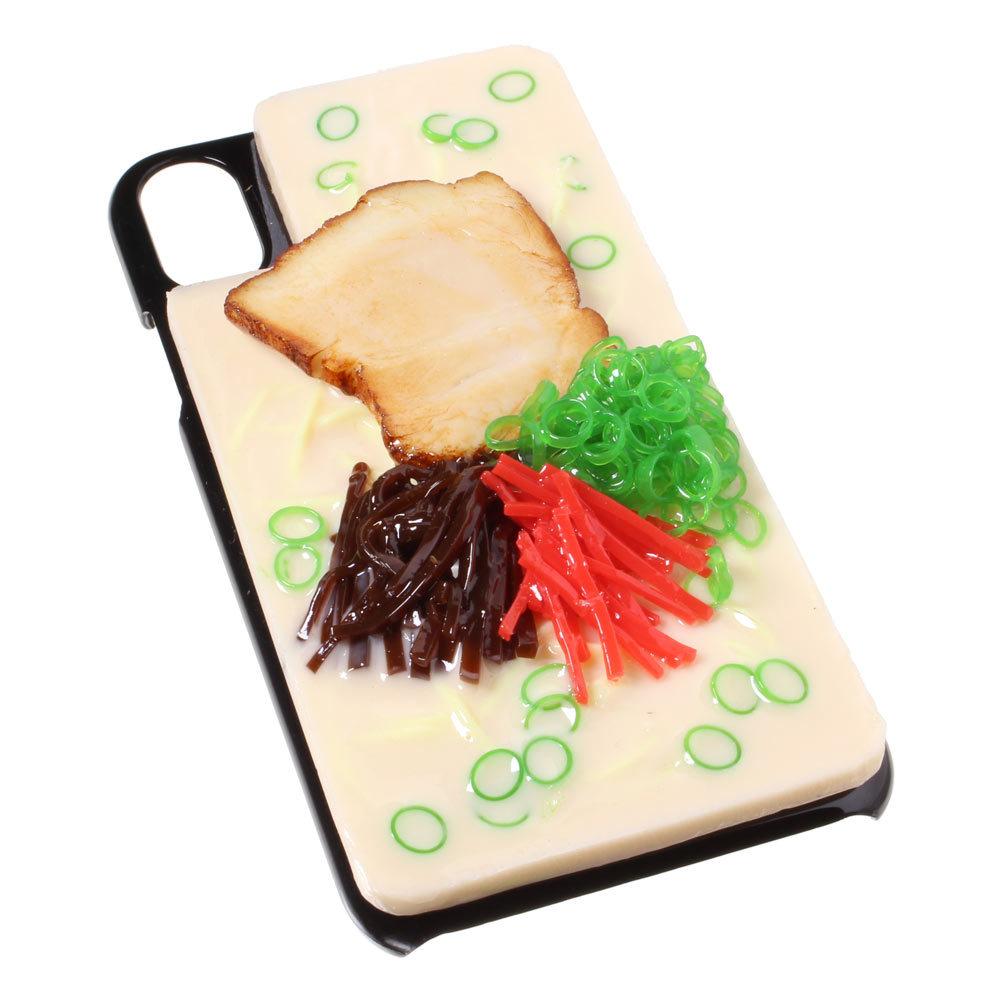 [8000]食品サンプル屋さんのスマホケース(iPhone XS、XS Max、XR:とんこつラーメン)【メール便不可】