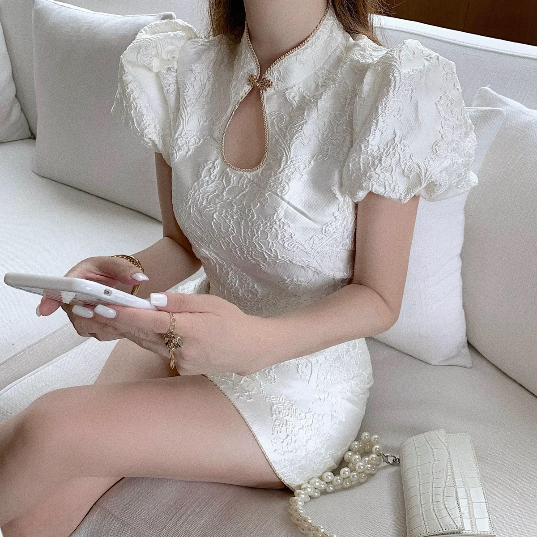 gold line white dress