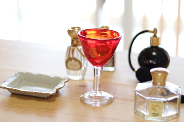 オリジナル琉球ガラス:ワイングラスecole de danceレッド#7