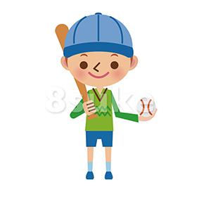 イラスト素材:バットとボールを持った野球少年(ベクター・JPG)