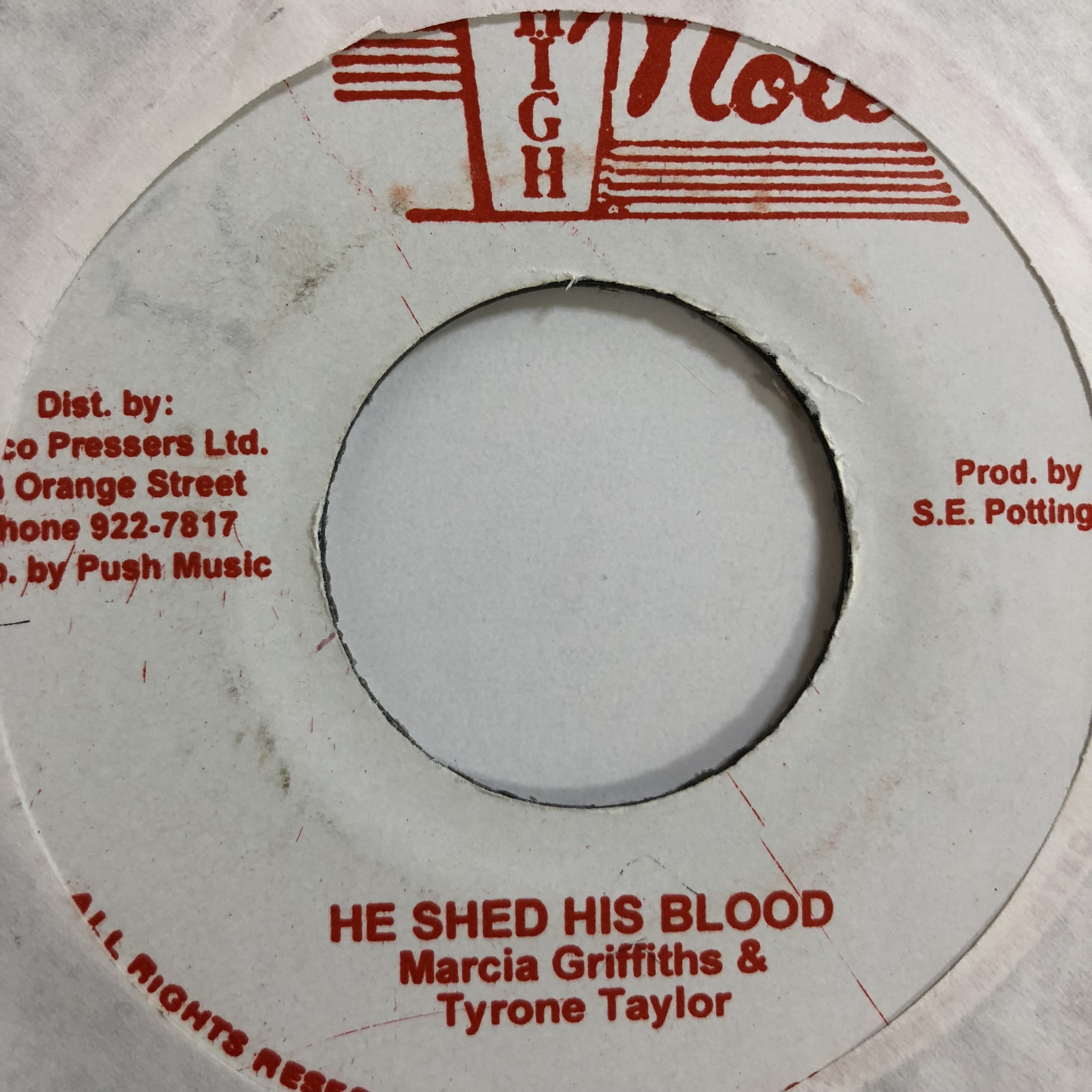 Marcia Griffiths(マーシャグリフィス) & Tyrone Taylor(タイロンテイラー) - He Shed His Blood【7'】