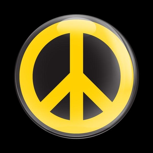 ドームバッジ(CD0427 -SIGN PEACE YELLOW B) - 画像1