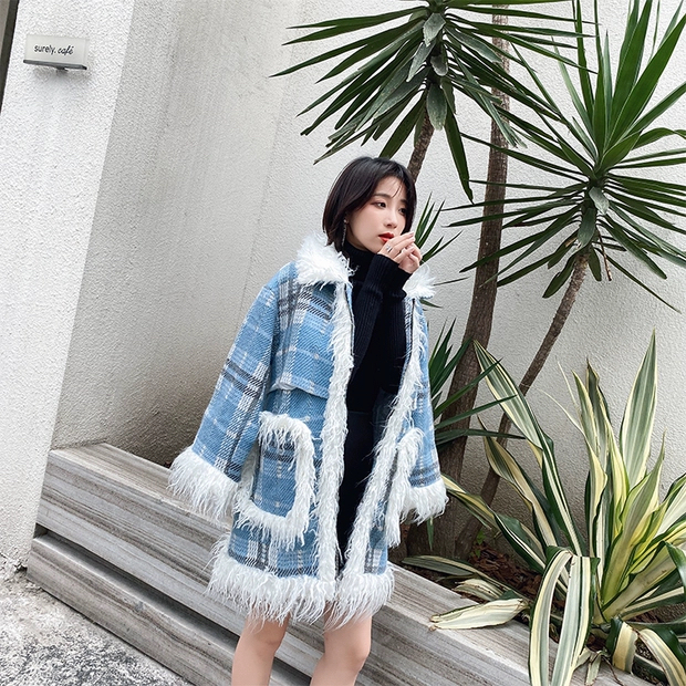 blue check bore coat