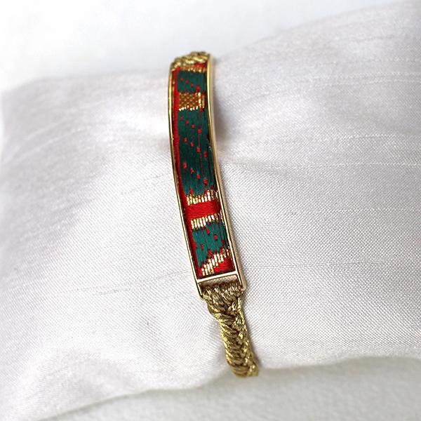 西陣織「金襴」ブレスレット レッド×グリーン01