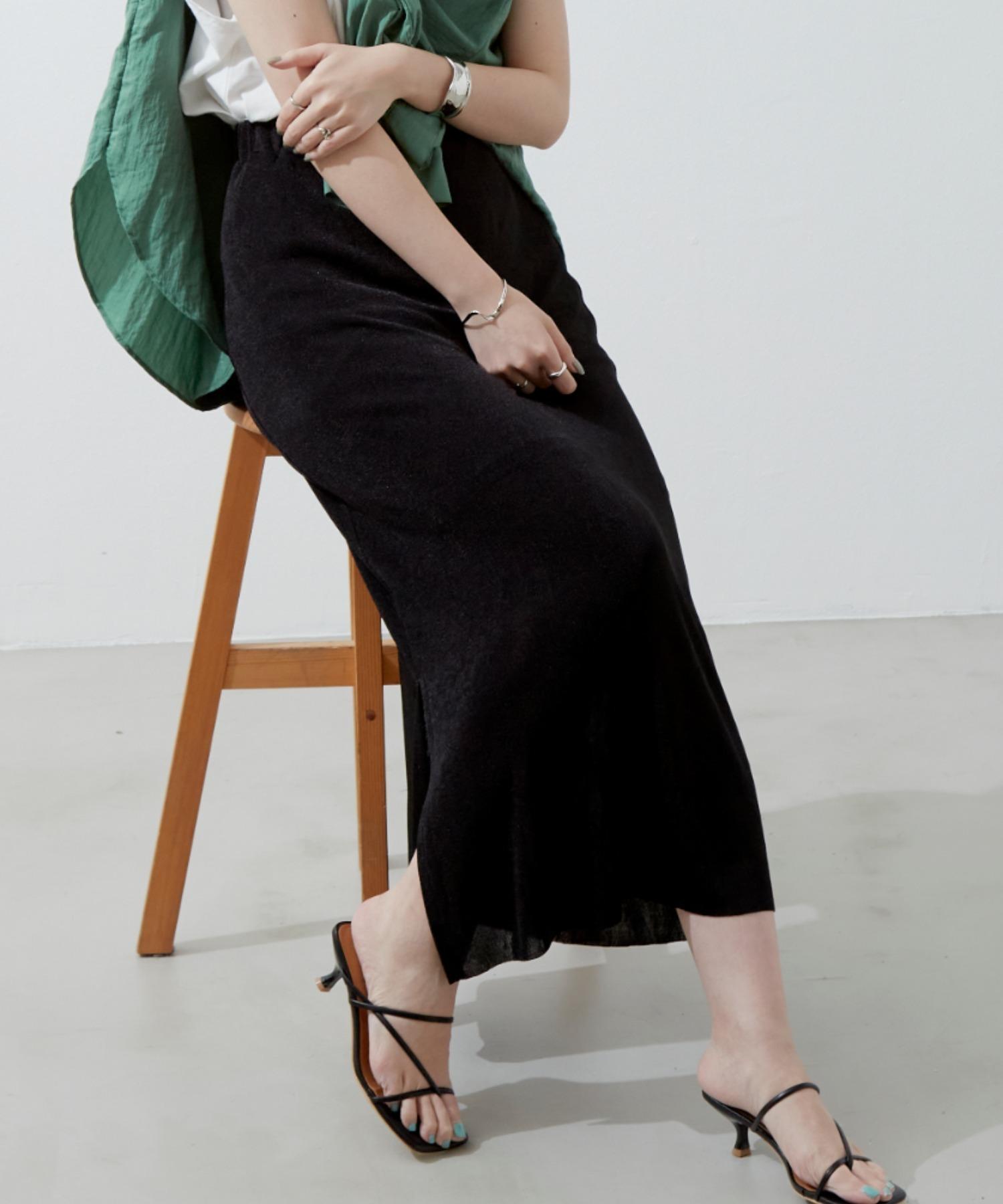 タイトロングネットスカート/BLK