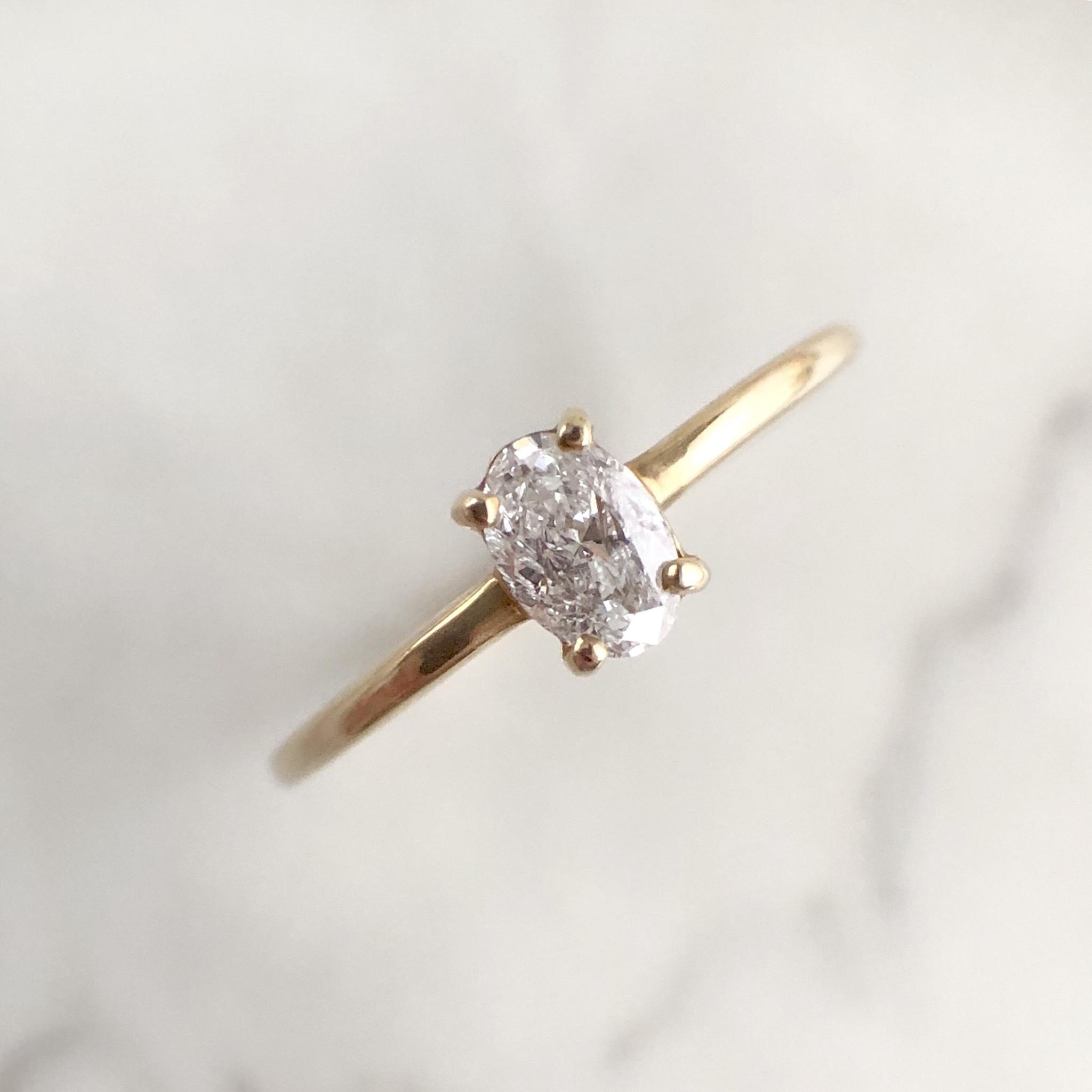 オーバルカット ダイヤモンド リング 0.20ct  K18イエローゴールド チェカ 鑑別書付