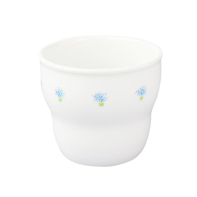 【2025-1050】強化磁器 持ちやすい幼児用カップ(Φ7.4cm×H6.6cm/満水170ml)  花の冠(ブルー)