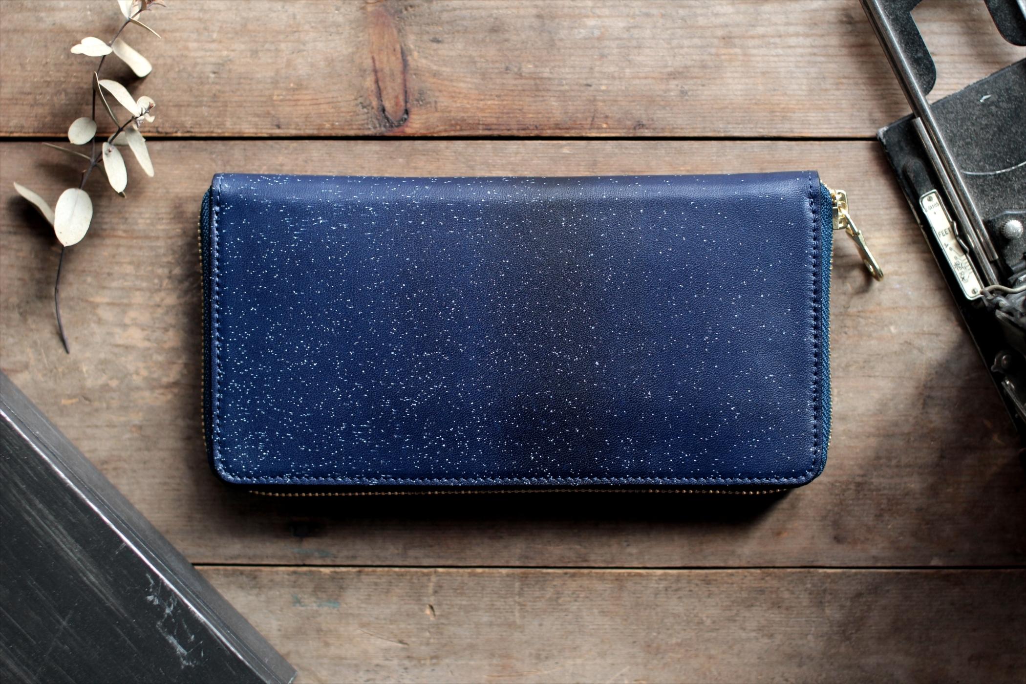 藍染革[migaki] ラウンドファスナー長財布 【数多】