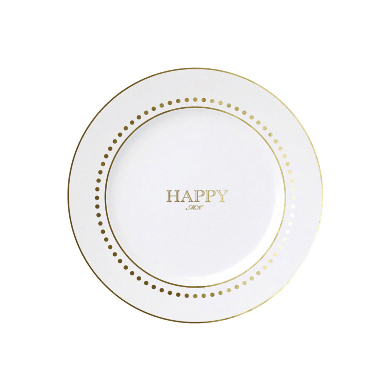 Happy Dots Plate with initials