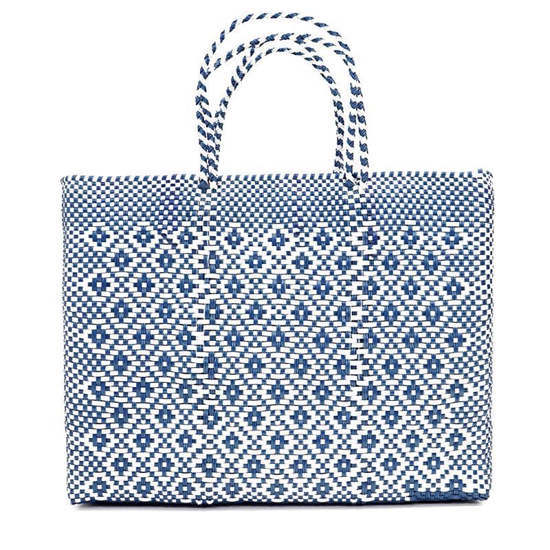MERCADO BAG ROMBO METALIC - Metalic Blue x White(L)
